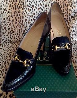 Gucci Rare Vintage Black Pony Hair Gold Horse Bit Leather Pumps Size 6 B
