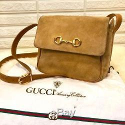 Gucci Shoulder Bag Horse Bit Suede Vintage Old USED F/S vintage