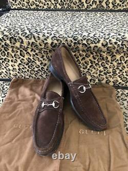Gucci Tom Ford Era Vintage brown suede horse-bit flat loafers 37.5 Dust Bags