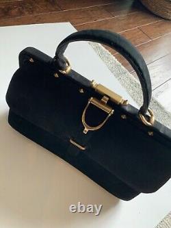 Gucci Vintage Black Suede top handle Bag with horse-bit gold hardwares