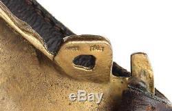 Gucci Vintage Brown Leather & Gold Horse Buckle Belt