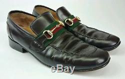 Gucci Vintage Brown Leather Horse Bit Red Stripe Loafers Italy Approximate Sz 9