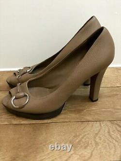 Gucci Vintage Brown Peep Toe High Heel Shoes UK 6.5 Leather Horse-bit Designer