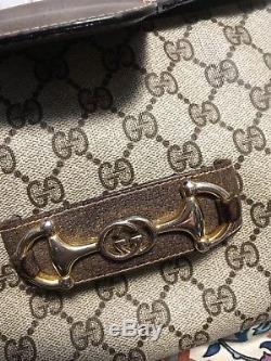 Gucci Vintage GG Canvas Horse Bit Flap Brown Leather Trim Shoulder Bag Rare