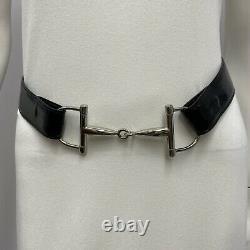 Gucci Vintage Horse Bit Belt Silver tone Black Patent Leather Size 75 30