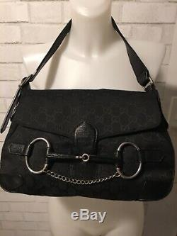 Gucci Vintage Runway Black Canvas Leather Horse Bit Bag Purse GG Monogram Small