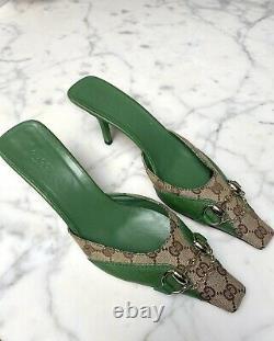 Gucci Vintage new monogram mules kitten heel horse bit size 39.5 UNWORN