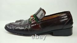 Gucci Vtg Oxblood Leather Horse Bit Red Stripe Loafers Italy Approximate Sz 9