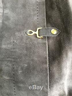 HERMES Brown Suede LEATHER Skirt Horse bit Buckles VINTAGE Size S, Xs 26
