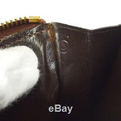 HERMES Horse Head Clutch Hand Bag Pouch Beige Linen U France Vintage AK17407c