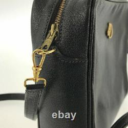 HERMES Horse Horse Logo Vintage Gold Hardware black Cross Body from Japan
