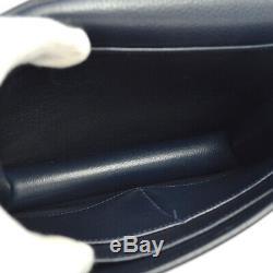 HERMES Horse Logos Cross Body Shoulder Bag Purse Navy Leather Vintage N O02163d
