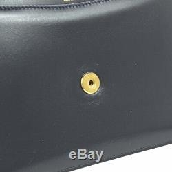 HERMES Horse Logos Shoulder Bag Navy Box Calf R Vintage Purse Authentic O02250