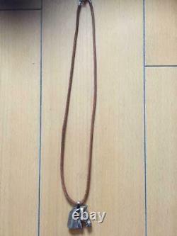 HERMES Men's Choker Necklace Horse Motif Silver Pendant Leather Vintage Rare