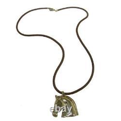HERMES Vintage Logos Horse Motif Pendant Necklace Accessories S08781g