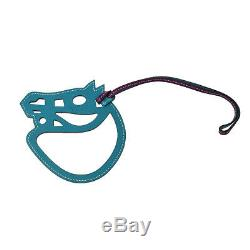 HERMES Vintage Paddock Horse Head Bag Charm Purple Leather Authentic NR12961k