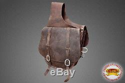 Hilason Western Leather Cowboy Trail Ride Horse Saddle Bag Vintage Dark Brown