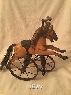Hand Carved Vintage Horse on a Brass Tricycle Leather Saddle