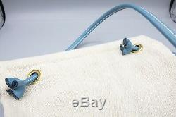 Hermes Canvas Feedbag with Blue Leather Strap Vintage Horse Feed Bag, 9