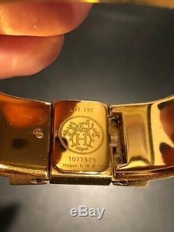 Hermes Loquet Clic-Clac Enamel & Gold Horses Cheval Ladies Bracelet Watch