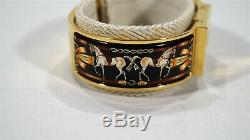 Hermes Loquet Clic-Clac Enamel & Gold Horses Cheval Ladies Bracelet Watch withbox