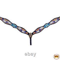 Hilason Western Horse Headstall Breast Collar Set American Leather Floral U-SET