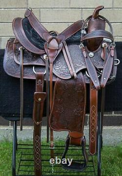 Horse Saddle Western Used Trail Ranch Work Barrel Leather Tack Set 16 17 18