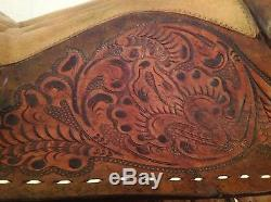 Horse head engraving, Brown Leather & Buckstitching VINTAGE Western Saddle 15