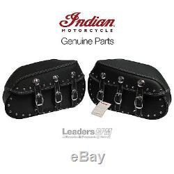 Indian Motorcycle OEM Black Leather Vintage Saddlebags, Dark Horse, N5240007