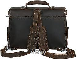 Iswee Mens Vintage Crazy Horse Cowhide Leather Briefcase Traveling Shoulder B