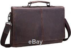 Iswee Vintage Crazy Horse Cowhide Leather Tote Briefcase Messenger Bag Shoulder