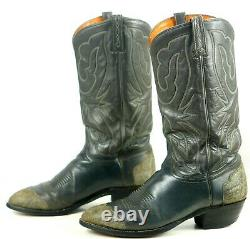 J Chisholm Gray Exotic Wingtip Cowboy Boots Vintage US Handmade Men's 10.5 D