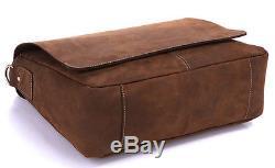 J. M. D Vintage Crazy Horse Leather Men's Briefcase Messenger Shoulder Bag Handbag