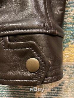 JELADO Antique Garments 1930s Half Belt Horsehide Leather Jacket Sz 42 Eastman