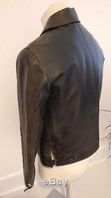 JIL SANDER Vintage 100% HORSE LEATHER JACKET Dark green RARE Size 48
