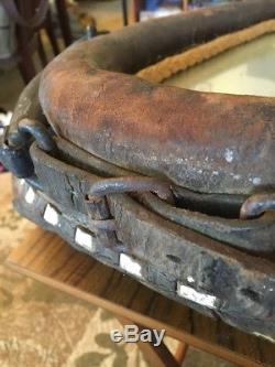 JJ ST30 Antique Horse Collar Mirror Vintage Harness, Leather, Iron