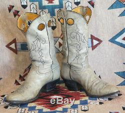 Justin Buckaroo Cowboy Western Boots Marbled Leather Vintage Men's 11.5 D