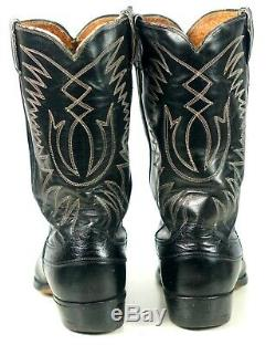 Justin Ft Worth Black Cowboy Boots Pointy Toe Vintage 70s US Made Men's 11.5 D