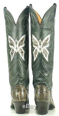 Justin Women's Tall Gray Snakeskin Inlay Butterflies Vintage Cowboy Boots 6 A