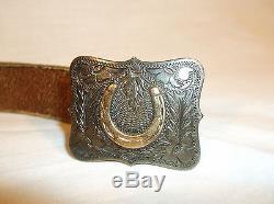 Keyston Bros. Vintage Brown Leather Belt Silver Horse Shoe Buckle size 32-36