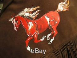 LARGE 42 HAND PAINTED HORSE True Vtg 70s SCHOTT RANCHER Suede leather Jacket USA