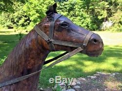 Large 35H Vintage Leather Horse Statue Sculpture