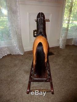 Large Vintage Antique Wooden Rocking Carousel Horse, Real Hair, Leather Saddle