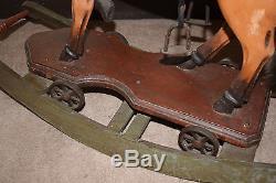 Large Vintage Antique Wooden Rocking Horse Leather Saddle, Real Hair
