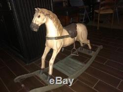 Large Vintage Antique Wooden Rocking Horse, (real Hair), Leather Saddle