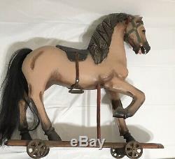 Large Vintage Hand Carved Wood Rocking Horse Child Pull Toy Leather Saddle