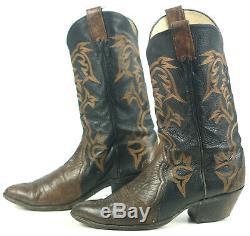 Larry Mahan Black & Brown Cowboy Western Boots Vintage US Made Men's 10.5 EE 2e