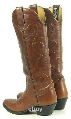 Larry Mahan Brown Knee Hi 17 Tall Western Cowboy Boots Vintage US Made Womens 8