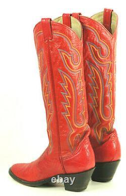 Larry Mahan Red Lizard Tall Knee High Cowboy Boots Vintage US Made Women's 6.5 M