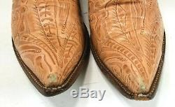 Larry Mahan Vintage Women's Western Cowboy Boots Snip Toe Tooled Embossed 10 B